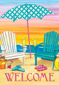 Beach Chairs Welcome Garden Flag