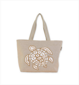 Tan Beaded Sea Turtle Tote