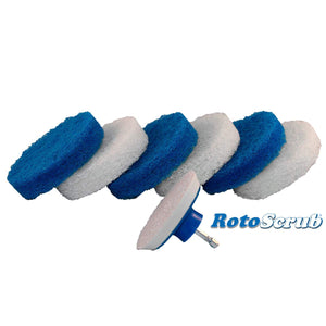 This is a product image of our scrub pads we offer. The velcro backing pad drill attachment is show in front of the scrub pads.
