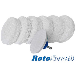 This is a product image of our scrub pads we offer. There are six pads with a velcro back pad drill attachment.