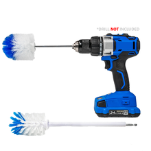 Load image into Gallery viewer, RotoScrub 2 Drill Brush Kit - Extended Reach Wheel Brush with Heavy Duty Bristles + Super Extended Long Wheel Brush with Soft Bristles