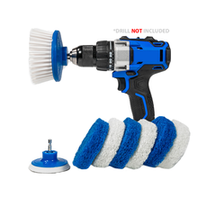 Load image into Gallery viewer, RotoScrub Bathroom Cleaning Scrub Pads + Drill Powered Scrub Brush