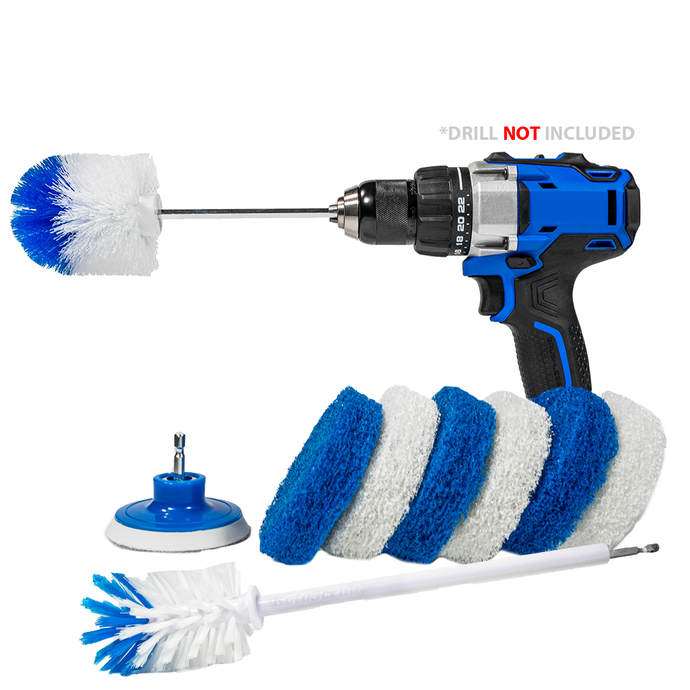 RotoScrub Scrub Pads + Extended Reach Drill Brush + Super Extended Long Reach Bottle Drill Brush