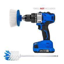 Load image into Gallery viewer, RotoScrub Car and Motorcycle Wheel & Tire Drill-Powered Cleaning Brushes - 2 Brush Kit includes Drill Powered Scrub Brush + Extended Long Reach Drill Brush with Soft Bristles