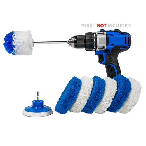 Bathroom Cleaning Scrub Pads + Corners and Edges Brush - Drill Accessory Combo Kit