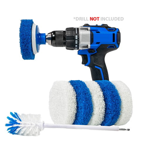 RotoScrub Scrub Pads + Extended Long Reach Drill Brush - Drill Accessory Combo Kit