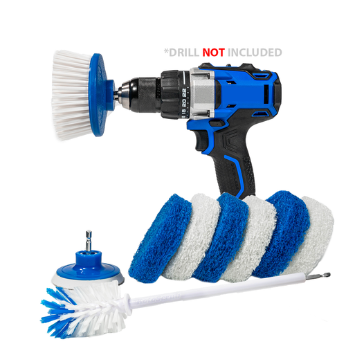 RotoScrub Scrub Pads + Drill Powered Scrub Brush + Extended Long Reach Bottle Drill Brush