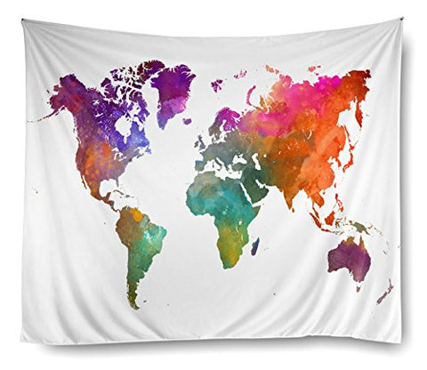 Rainbow World Map Tapestry Dorm47
