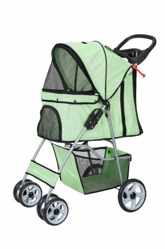 Confidence Deluxe Folding Four Wheel Pet Stroller Green
