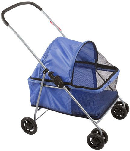 Large Blue Basket-Style Folding Pet Carrier Stroller