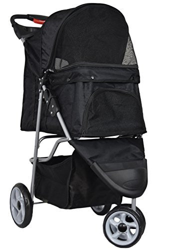 VIVO Three Wheel Pet Stroller, for Cat, Dog and More, Foldable Carrier Strolling Cart, Multiple Colors (Black)