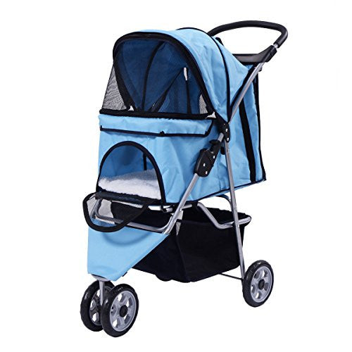Giantex Three Wheel Pet Stroller Cart Cat Dog Foldable Carrier Travel Jogger 5 Color (Blue)