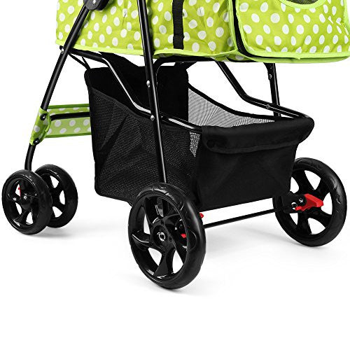 Flexzion Pet Stroller Dog Cat Small Animals Carrier Cage 4 Wheels Folding Flexible Easy Walk for Jogger Jogging Travel Up to 30 Pounds With Rain Cover Cup Holder and Mesh Window, Dot Green