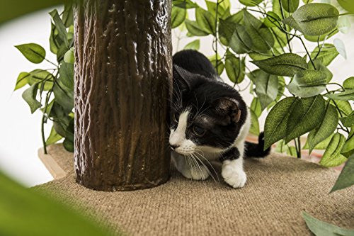 CatHaven Cat Condo Furniture, Tree House Tower for Climbing, Playing, Scratching, and Relaxing - 60 in. high
