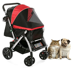 HPZ Pet Rover Premium Heavy Duty Dog/Cat/Pet Stroller Travel Carriage With Convertible Compartment/Zipperless Entry/Reversible Handle Bar/Weather Resistance for Small, Medium and Large Pets