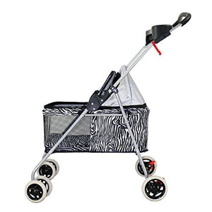 New BestPet Zebra Posh Pet Stroller Dogs Cats w/Cup Holder