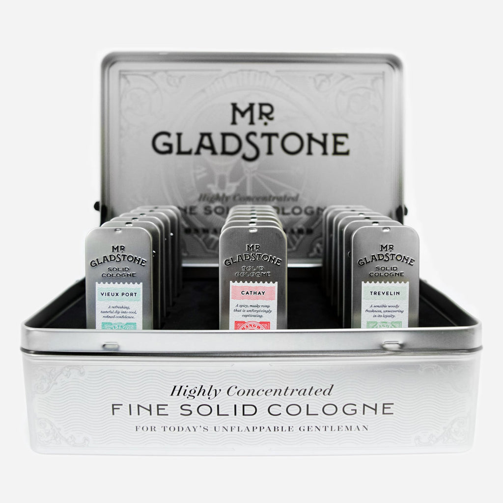 Mr. Gladstone Solid Cologne Full Retail Display