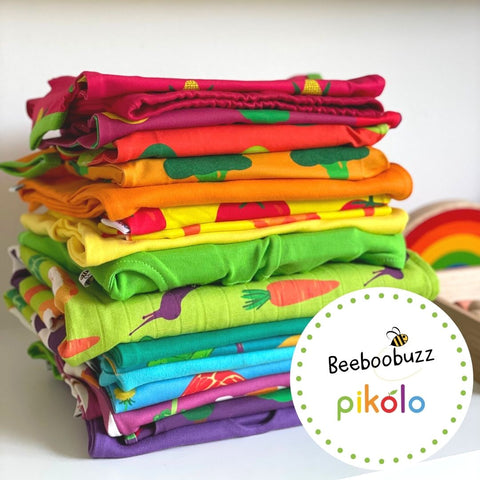 Pikolo and Beeboobuzz product stack of colourful clothes