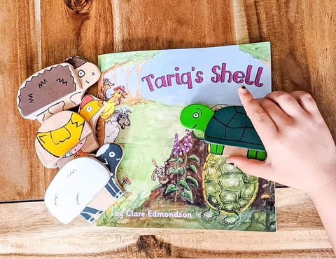 Tariq's Shell book with wooden characters