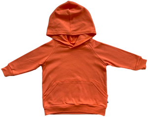 plain coloured bright orange kids children's hoodie organic cotton unisex gender neutral