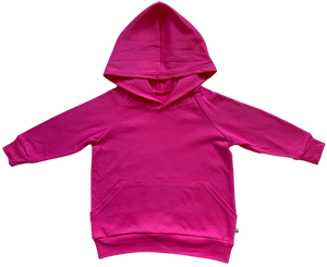plain coloured bright pink kids children's hoodie organic cotton unisex gender neutral