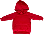 plain coloured bright red kids children's hoodie organic cotton unisex gender neutral