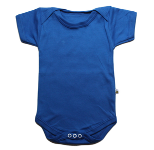 plain coloured bright blue short sleeve baby vest bodysuit organic cotton unisex gender neutral