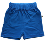 plain coloured bright blue kids children's shorts organic cotton unisex gender neutral