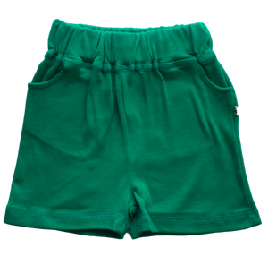 plain coloured bright green kids children's shorts organic cotton unisex gender neutral