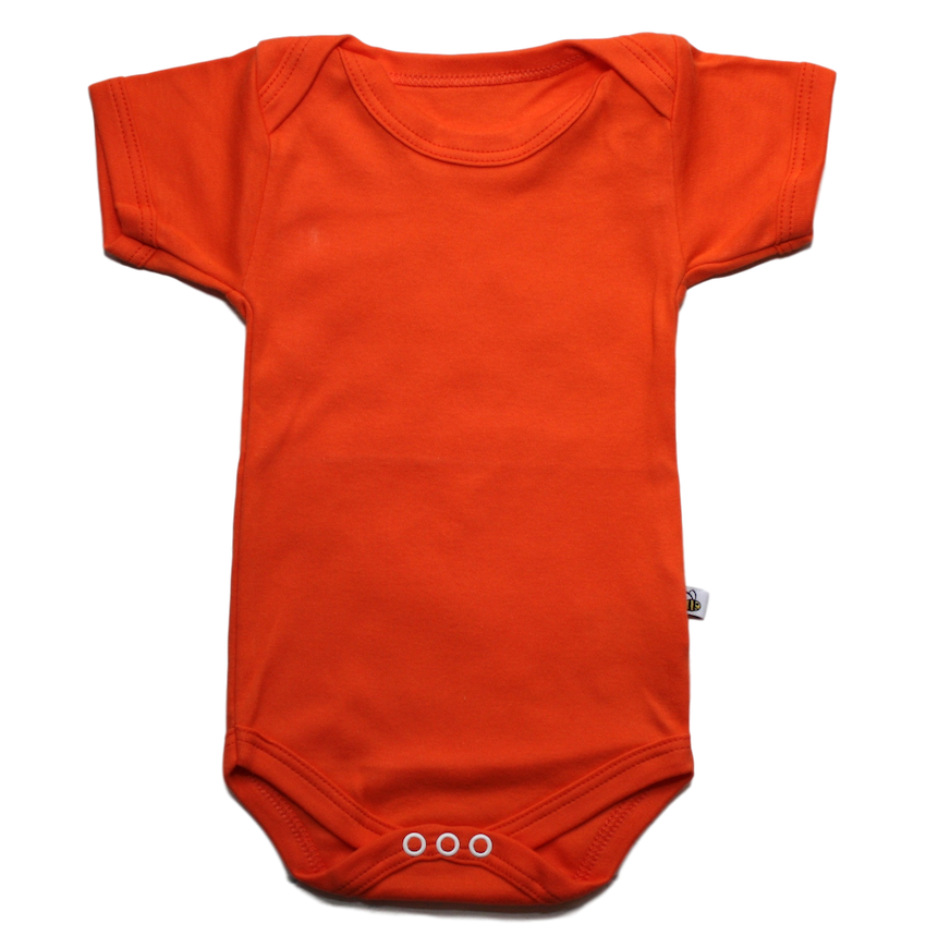 plain coloured bright orange short sleeve baby vest bodysuit organic cotton unisex gender neutral