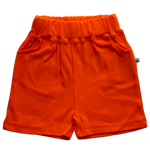 plain coloured bright orange kids children's shorts organic cotton unisex gender neutral