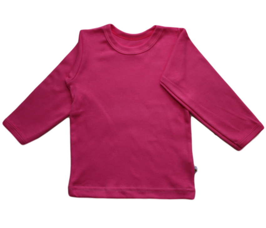 plain coloured bright pink kids children's long sleeve t-shirt organic cotton unisex gender neutral