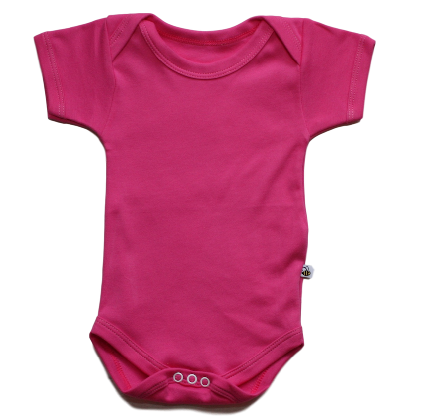 plain coloured bright pink short sleeve baby vest bodysuit organic cotton unisex gender neutral