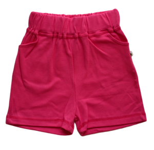 plain coloured bright pink kids children's shorts organic cotton unisex gender neutral