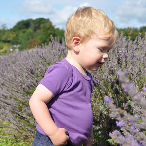plain coloured bright purple short sleeve baby vest bodysuit organic cotton unisex gender neutral