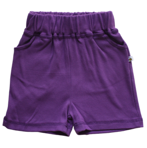 plain coloured bright purple kids children's shorts organic cotton unisex gender neutral
