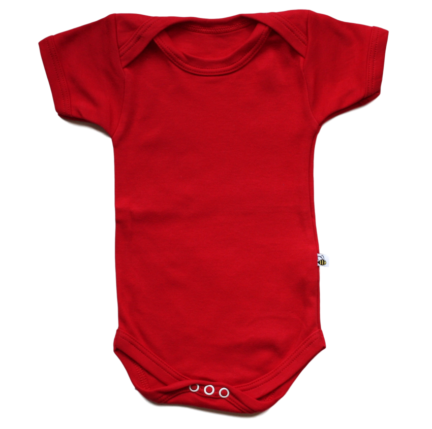 plain coloured bright red short sleeve baby vest bodysuit organic cotton unisex gender neutral