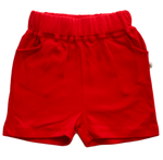 plain coloured bright red kids children's shorts organic cotton unisex gender neutral