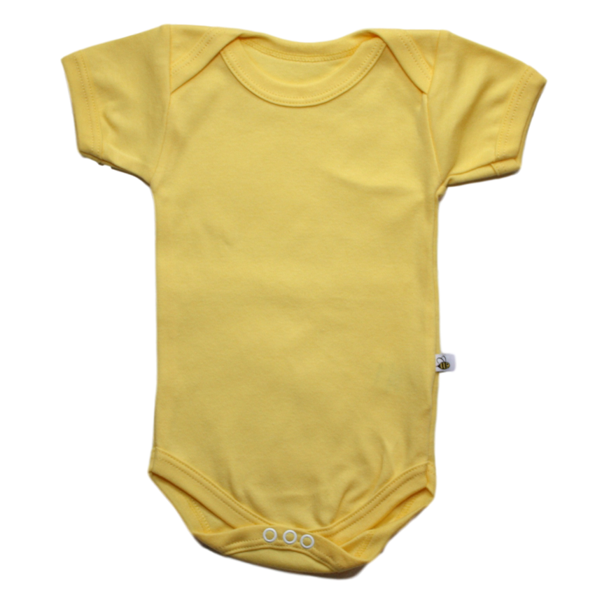 plain coloured bright yellow short sleeve baby vest bodysuit organic cotton unisex gender neutral