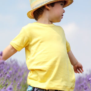 plain coloured bright yellow kids children's short sleeve t-shirt organic cotton unisex gender neutral