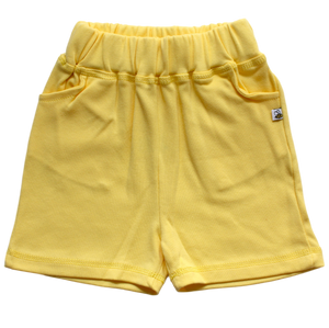 plain coloured bright yellow kids children's shorts organic cotton unisex gender neutral