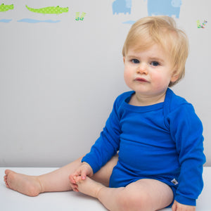 plain coloured bright blue long sleeve baby vest bodysuit organic cotton unisex gender neutral