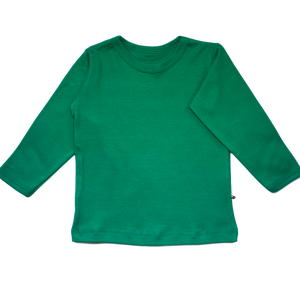 plain coloured bright green kids children's long sleeve t-shirt organic cotton unisex gender neutral
