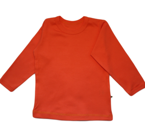 plain coloured bright orange kids children's long sleeve t-shirt organic cotton unisex gender neutral