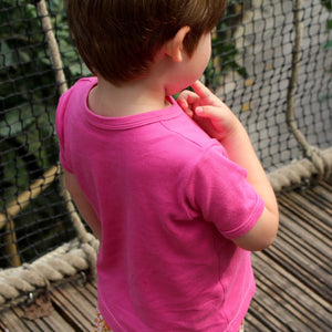 plain coloured bright pink kids children's short sleeve t-shirt organic cotton unisex gender neutral