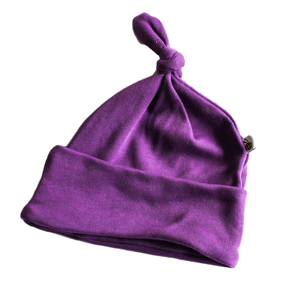 plain coloured bright purple baby hat organic cotton unisex gender neutral