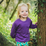 plain coloured bright purple kids children's long sleeve t-shirt organic cotton unisex gender neutral