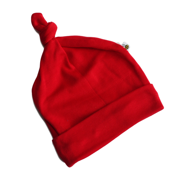 plain coloured bright red baby hat organic cotton unisex gender neutral
