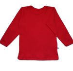 plain coloured bright red kids children's long sleeve t-shirt organic cotton unisex gender neutral