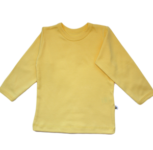 plain coloured bright yellow kids children's long sleeve t-shirt organic cotton unisex gender neutral
